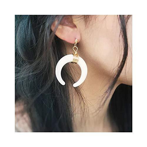 JczR.Y Retro Crescent Moon Drop Stud Earrings Bohemian C Horn Shape Wire Dangle Earrings for Women Fashion(White)