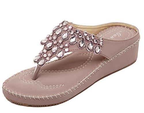 dqq Damen Tanga Strass Stich Keil Sandale Lotus