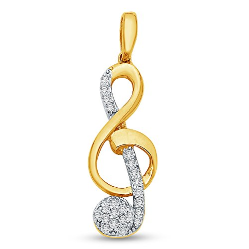 Jewel Tie Solid 14K Yellow Gold Ornate Treble Clef Music Note Pendant Charm with Cubic Zirconia CZ Accent 21x9 mm