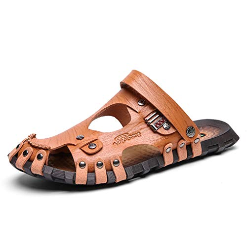 August Jim Men's Beach Sandals Microfiber Leather Lightweight Closed Toe Slippers