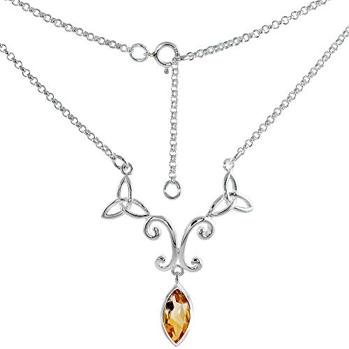Sterling Silver Celtic Trinity Triquetra Knot Necklace with Genuine Citrine 16-17 inch Long (Citrine Bezel Necklace)