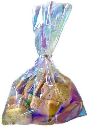 Iridescent Holographic Cellophane Bags,6x9 Inch 100 Pcs Party Favor Treat Bags with 5 Colors Twist Ties for Baby Showers Weddings Birthday Party