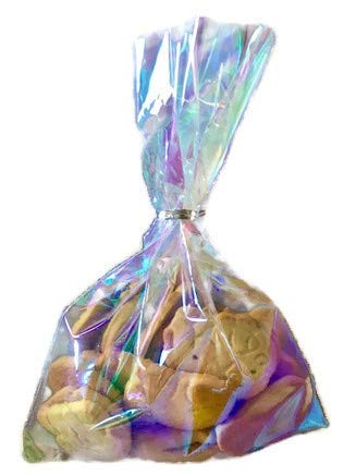 75 Iridescent Holographic Cellophane Party Favor Treat Bags 4×6 with Silver Twist Ties for Cake Pops Mermaid Unicorn Birthday Party Supplies Wedding