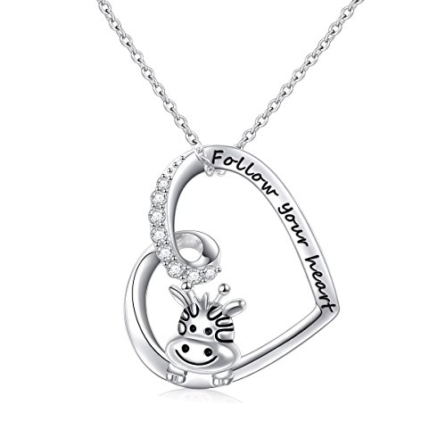 925 Sterling Silver Engraved Follow Your Heart Cute Animal Giraffe Pendant Necklace for Women Girls, 18
