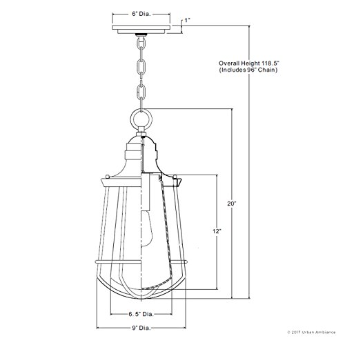 Luxury Vintage Outdoor Pendant Light, Large Size: 20''H x 9.5''W, with Nautical Style Elements, Cage Design, Estate Bronze Finish and Seeded Glass, Includes Edison Bulb, UQL1125 by Urban Ambiance by Urban Ambiance (Image #6)