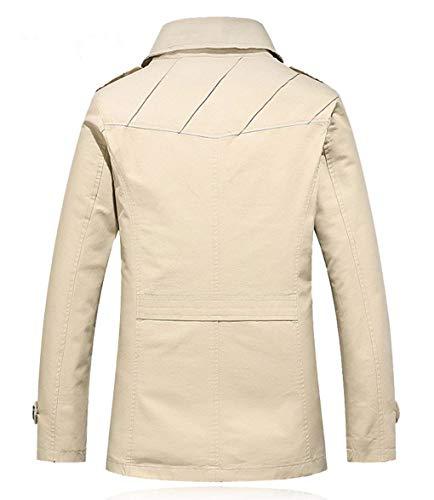 Cappotti Con Collare A Villi Lightkhaki Anteriori Vento Uomini Trincea Basamento Giacca Outwear Tasche Risvolto Del Huixin Spessa Abbigliamento gg7Frx
