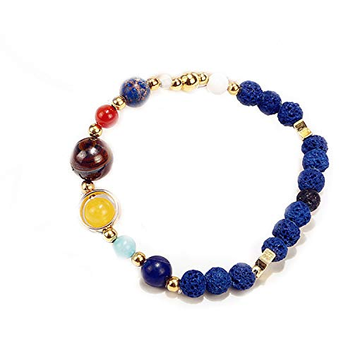 y Solar System Eight Planets Bracelet Guard Stars Natural Stone Beads ()