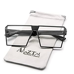 AMZTM Square Oversized Polarized Metal Sunglasses Mirrored Reflective Lens