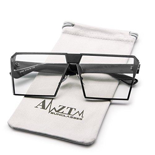 AMZTM Outdoor Reading Glasses Square Metal Black Frame Glass Lens Oversized Non-polarized Sunglasses For Men and Women (Black Frame Clear Lens, - Ladies Fashion Glasses