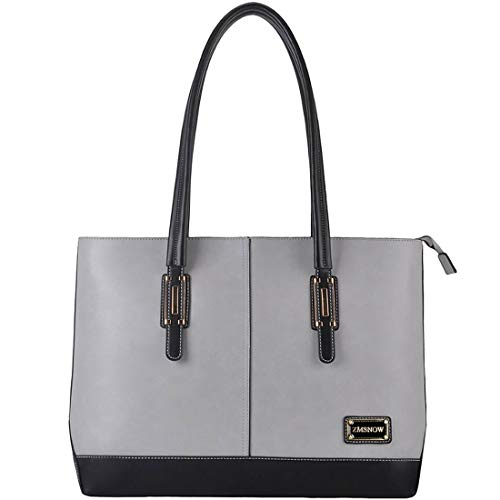 (ZMSnow Laptop Bag, Classic Contrast Color Women Work Tote Bag 15.6 Inch Briefcase for Business College Travel (Gray))