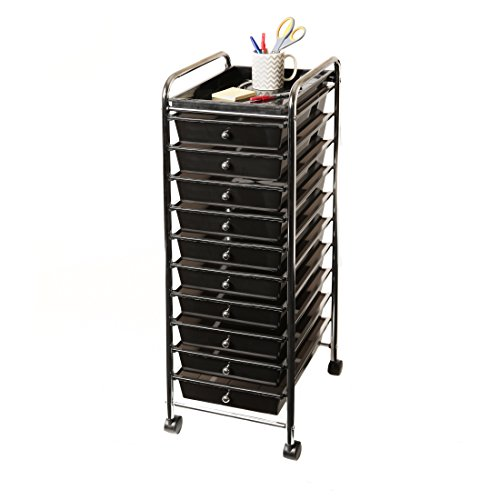 Seville Classics 10-Drawer Organizer Cart with Tray, Black