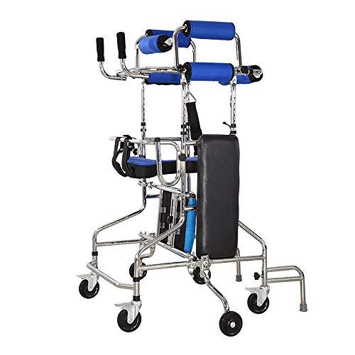 QETU Elderly Walker, Multi-Function Lower Limb Training Walking Stand Frame Adult Walker Stroke Hemiplegia Rehabilitation Equipment,Blue