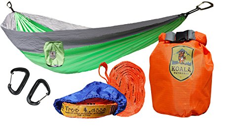 Koala Portable Camping Hammock Bed Bundle: 2 Person, 2-Hanging Straps, 2-Carabiners, Stuff Sack, Dry Bag Holds up to 400 Pounds