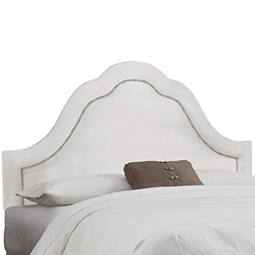 Skyline Furniture Velvet White Arch Nail Button Headboard White California King