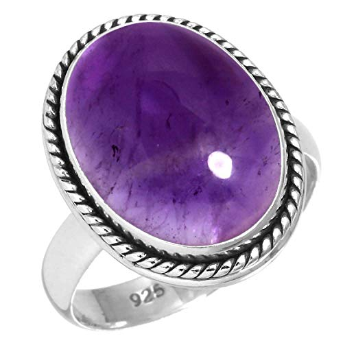 Natural Amethyst Women Jewelry 925 Sterling Silver Ring Size 8