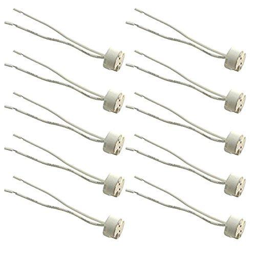 10pcs Glo-shine Mr16 Mr11 or G4 Socket,wire LED Halogen Lamp Ceramic Wire Connector Base Socket Adapter Mr16 Mr11 G4 GU5.3 Socket (10pcs)