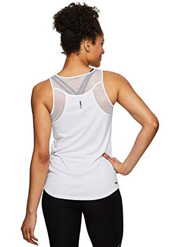 RBX Active Women's Racerback Yoga Workout Mesh Back Tank Top S.19 White L