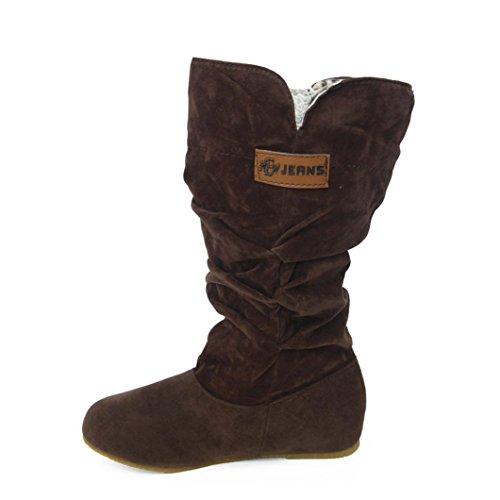 Für Winter Damen Ferse Herbst Knie Stiefel Flache WED2HIY9