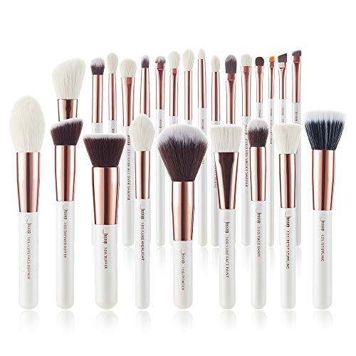 Jessup Brand 25pcs Professional Makeup Brush set Beauty Cosmetic Foundation Power Blushes eyelashes Lipstick Natural-Synthetic Hair Brushes set (Pearl White/Rose -