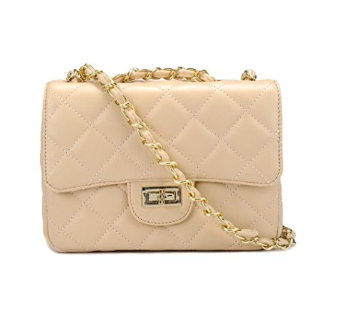 S Lady Handbag Collection - Cartera de mano de Piel Lisa para mujer 20x15x7cm albaricoque