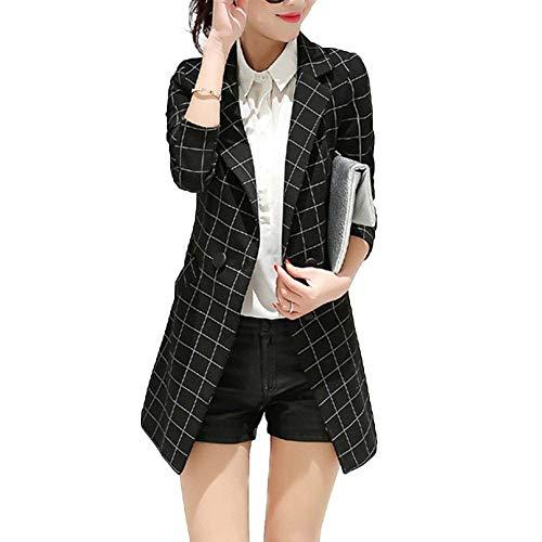 Primaverile Moda Da Donna Lunghe Autunno Giubbino Ufficio Business Schwarz Bavero Maniche Giacca Prodotto Fit Elegante Classiche Quadretti Tailleur Plus Blazer Outerwear Slim 0p0wE