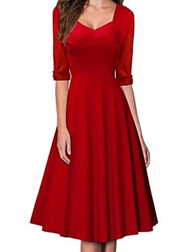 Dress Pure Cocktail Women Dresses Color V Neck Red Half Coolred Sleeve fzwq4qP
