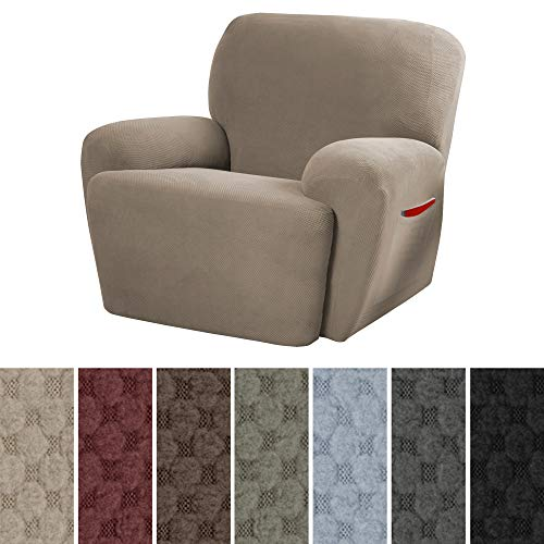 MAYTEX Pixel Ultra Soft Stretch 4 Piece Recliner Arm Chair Furniture Cover Slipcover with Side Pocket, Sand -
