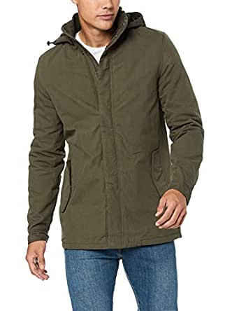 French Connection Men's Cotton Parka, Khaki, Extra Large