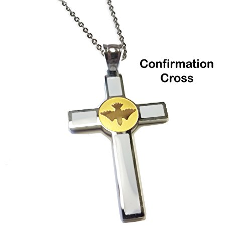Price comparison product image Unique Confirmation Cross - Two Tone Stainless Steel Confirmation Holy Spirit Cross Necklace