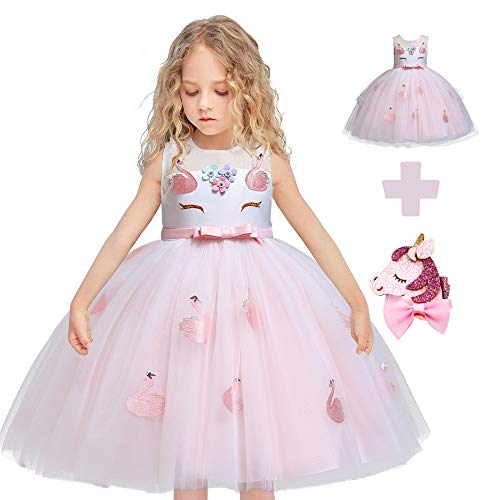 - Flower Girls Unicorn Costume Cosplay Princess Dress up Kids Pageant Party Dress Dance Outfits Evening Gowns (4 Years, Pink Swan)