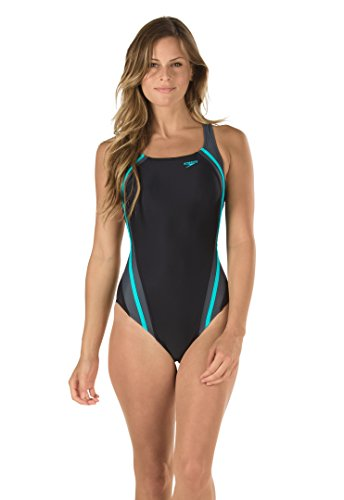 Speedo Women's Quantum Splice Power flex Eco One Piece Swimsuit, Bali Blue, 4 4 One Piece Swimsuits