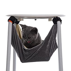 MARBOL Pet Kitten Cat Hammock Removable Velcro Hanging Soft Bed Cages for Chair Kitty Rat Small Pets Swing (Large)