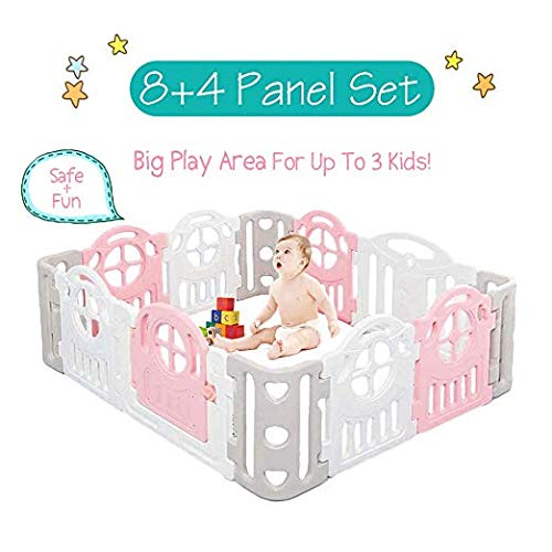 Wonder Space Baby Playpen - Large Space Activity Play Center Protection for Toddlers Kids, Home Indoor and Outdoor Nursery Safety Gate Play Yards Fence ()
