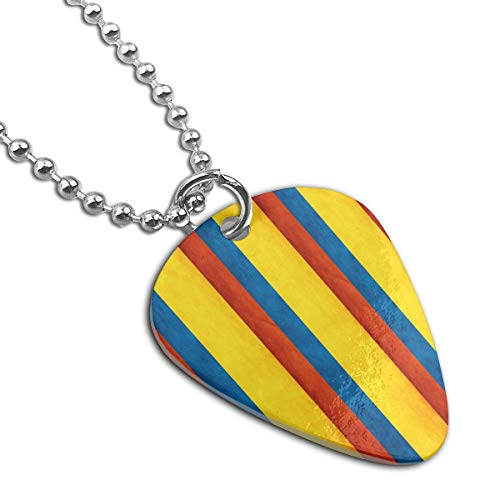 Alin-Z Colombia Banner Stripe Custom Steel Guitar Pick Necklace Personalized Pet Card Tag