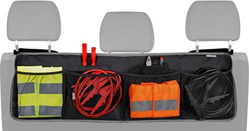 Kofferraum Organizer mit Klett für die Rücksitzbank von Kewago | Auto Organizer mit großen Netz-Taschen | Der Platzsparer für mehr Ordnung und Platz in Ihrem Kofferraum