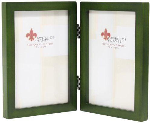 (Lawrence Frames Collection Hinged Double Wood Picture Frame Gallery, 4 by 6-Inch, Green)
