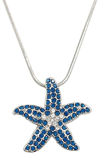 [Silver Tone Tropical Crystal Clear and Deep Royal Blue and Crystal Dancing Starfish Pendant] (Father And Daughter Halloween Costume Ideas)