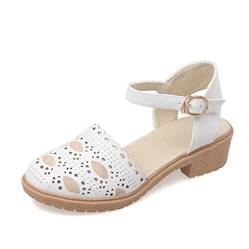 Sandals weiches Frauen Heels AllhqFashion Solid geschlossene White Zehe Low Schnalle Material 5zn4xdqpw6
