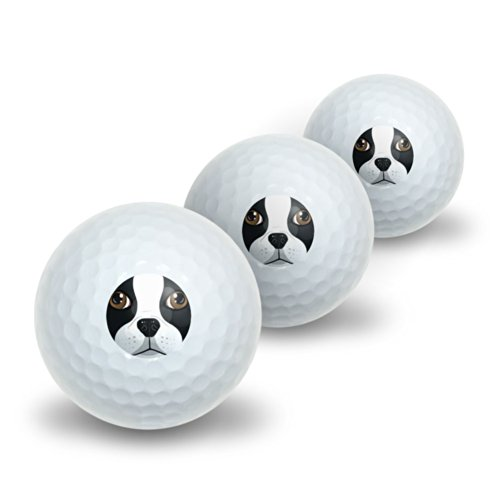 Boston Terrier Face - Dog Pet Novelty Golf Balls 3 Pack by Graphics and More