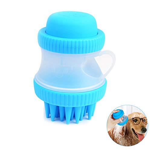 CN Pet Scrubber Bath Brush Soft Silicone Grooming Massage Bristles Comb Bath Foam Container Dogs Cats
