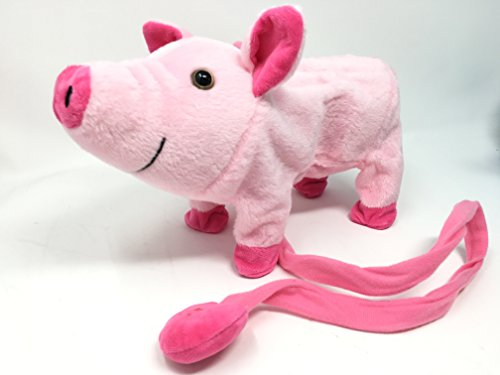 My Little Pig Wiggling, Walking / Oinking, Electronic Piggy with Remote Controlled Leash -Plush Toy with Music(COLOR MAY VARY) (Pig Walking)