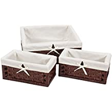 Household Essentials ML-7021 Set of Three Wicker Storage Baskets with Removable Liners   Paper Rope Dark Brown Stain
