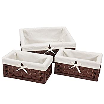 Household Essentials Set of 3 Paper Rope Storage Utility Baskets, Dark Brown Stain