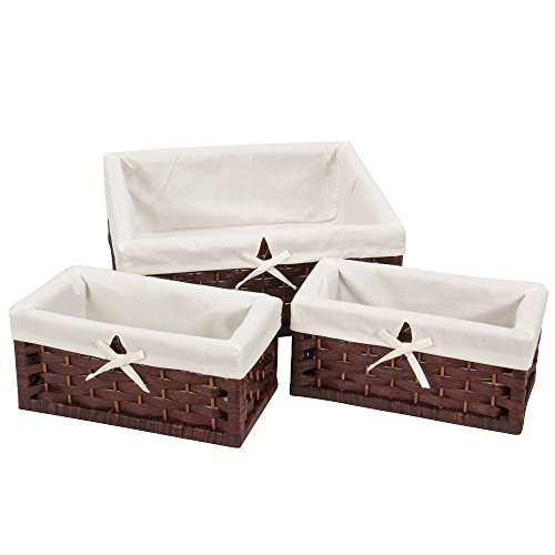Wicker Baskets Liners (Household Essentials ML-7021 Set of Three Wicker Storage Baskets with Removable Liners | Paper Rope Dark Brown Stain)