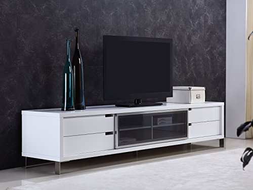 DUKE High Gloss White Lacquer Entertainment Center by Casabianca Home TC-0135-WH - DUKE High Gloss White Lacquer Entertainment Center by Casabianca Home ()