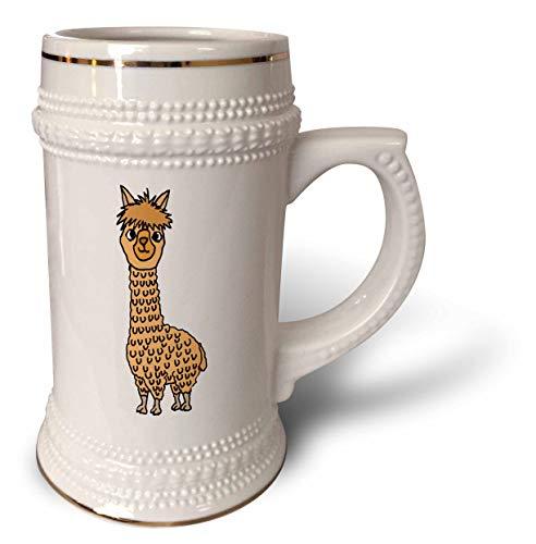 3dRose All Smiles Art Animals - Funny Cute Alpaca Cartoon for Llama and Alpaca Lovers - 22oz Stein Mug (stn_288101_1)