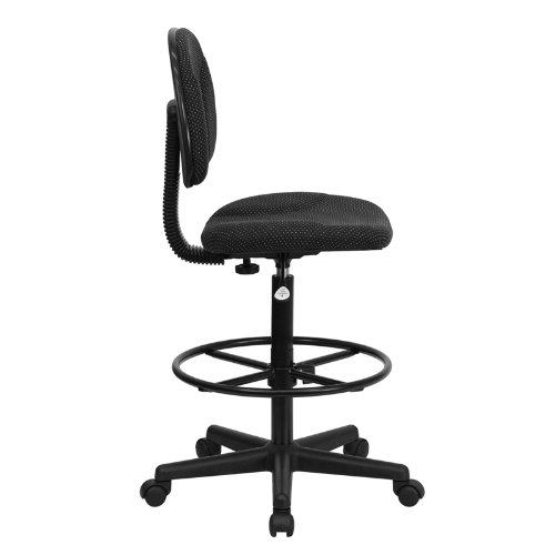 Flash Furniture Black Patterned Fabric Drafting Chair (Cylinders: 22.5''-27''H or 26''-30.5''H)
