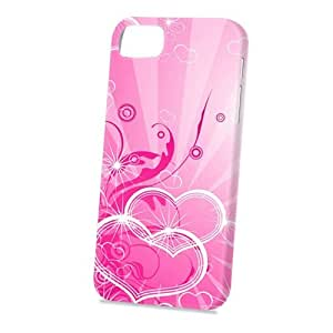 Case Fun Apple iPhone 5 / 5S Case - Vogue Version - 3D Full Wrap - Pink Hearts and Swirls