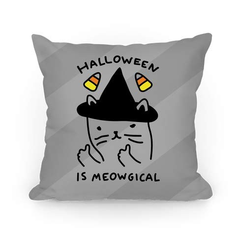 Halloween is Meowgical Custom Personalized Throw Pillow Cover Cotton Cushion Case Cover for Sofa Couch Home Decoratin 18 x 18 -