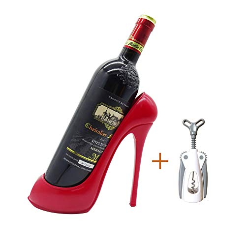 (Bitifull Fashion Shoes Model Wine Rack Decoration Desktop Bottle Rack Family Kitchen Table Winery Counter Resin Crafts Ornaments(Red))